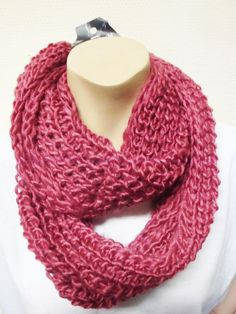 warmer Strick Loop Schal rosa