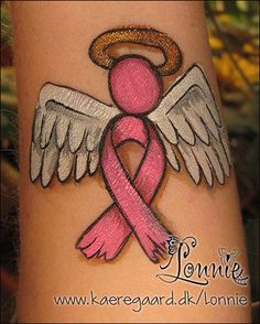 -- Pink for breast cancer awareness. Breast Cancer Crafts, Breast Cancer Walk, Breast Cancer Awareness, Adult Face Painting, Belly Painting, Cheek Art, Awareness Tattoo, Pink Out, Ribbon Tattoos