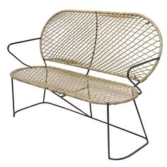 Settee in Tubular Wrought Iron after Mathieu Mategot Circa 1950 France | From a unique collection of antique and modern settees at https://www.1stdibs.com/furniture/seating/settees/