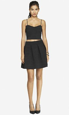 Loving Two Piece Chic!  Black Stripe Crop Top & Full Skirt from Express