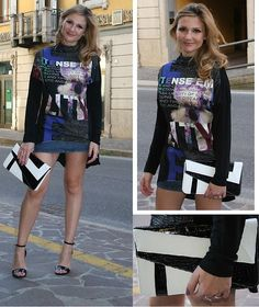 Miss Miss Graphic Tee, Denny Rose Denim Skirt, Persun Geometric Print Faux Python Clutch