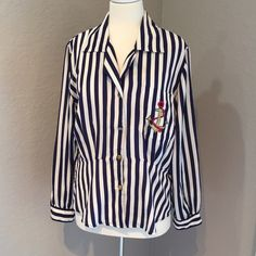 Leslie Fay Nautical Button Down Top Size M ⚓️ Great pre-loved condition. 100% polyester Item #SB273 Leslie Fay Tops Blouses