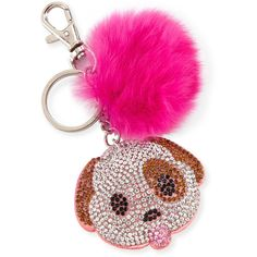 Bari Lynn Girls' Dog Emoji Fur-Pom Key Chain (280 MAD) ❤ liked on Polyvore featuring kids jewelry charms and multi