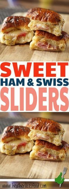 These ham and swiss sliders are a cinch to make and are perfect for entertaining. You can make them up ahead of time and then throw them in the oven when it's time to eat! The end result is cheesy ham sandwiches with a sweet and tangy crust that is so ad Mini Sandwiches, Sandwiches With Hawaiian Rolls, Tailgate Sandwiches, Italian Sandwiches, Think Food, Love Food, Ham And Swiss Sliders, Ham Sliders, Hawaiian Roll Sliders