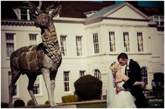 Gosfield Hall Wedding Photograph - Bride and Groom with stag