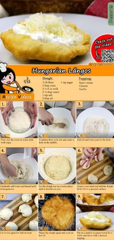 Langosch recipe with video - Hungarian recipes / simple Langosch Rezept mit Video – ungarische Rezepte/ einfache Gerichte Langosch is a Hungarian specialty. You can easily find the Langosch recipe video using the QR code :] - Pizza Recipes, Dessert Recipes, Cooking Recipes, Bread Recipes, Dessert Bread, Drink Recipes, Cooking Tips, Plat Simple, Hungarian Recipes