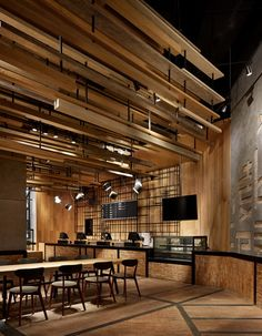 3 Rustic Restaurant, Restaurant Design, Restaurant Bar, Bar Interior, Interior Design Studio, Hotel Business Center, Timber Ceiling, Supermarket Design, Wooden Architecture