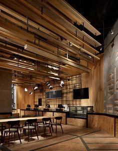3 Bar Interior, Interior Design Studio, Rustic Restaurant, Restaurant Design, Timber Ceiling, Supermarket Design, Wooden Architecture, Ceiling Treatments, Bakery Design