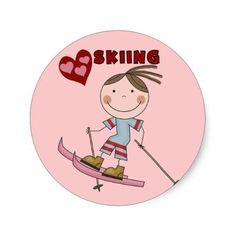 Stick Figure Girl Skier T-shirts, sweatshirts, hoodies, mugs, cards, stickers, tote bags, and other ski     apparel and gifts great for anyone who loves to ski!