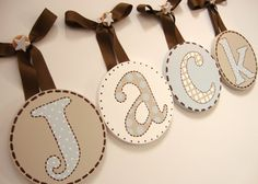BOYS Round Nursery HANGING Wall LETTERS