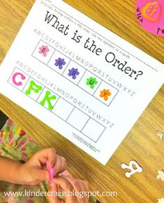 Use foam letters to introduce ABC order. Blog post includes a free download of this activity.