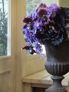 orchid,sweet pea and kale