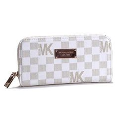 Michael Kors Check Logo Continental Zip Around Large White Wallets