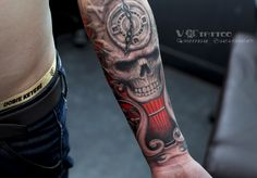 #tattoo #art #ink #inked #hand #skull #3d #realistic #inspiration #watch #colored #china #harbin #Vtattoo