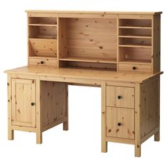 IKEA - HEMNES, Desk with add-on unit, light brown, , Solid wood is a durable natural material.You can mount the drawers to the right or left, according to your needs.Can be placed anywhere in the room because the back is finished.The lower drawer has a file frame that can be adjusted to fit letter or legal files.The shelves can be tilted, providing practical storage for papers and documents.The small compartment in the top drawer can be used for practical storage of pens and other small…