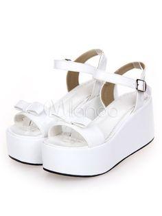 07daa6072e51 Sweet Lolita Sandals High Platform Ankle Strap Buckle Bow  Sandals