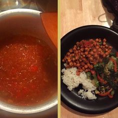 My first attempt at a vegetarian curry! Chickpea curry with basmati rice and side veg cooked in ghee.