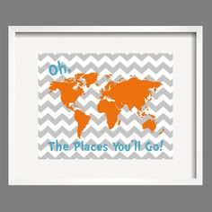 Dr. Seuss Quote Orange Gray Aqua Modern Art Print Typography Poster Nursery Art Print, Kids Wall Art, Playroom wall art-11x14 Oh, The Places. $24.00, via Etsy.
