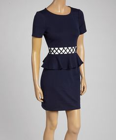 This Ivy and Blu Navy Blue & Ivory Peplum Dress by Ivy and Blu is perfect! #zulilyfinds