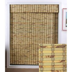 Stunning rustic bamboo Roman shade woven to warmly filter the light Shade made with real bamboo and other environmentally friendly materials Shade has a Roman-style roll and comes standard..