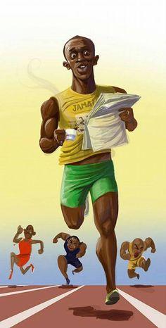 Usain Bolt caricature( i hope spelled it right! Cartoon Faces, Funny Faces, Cartoon Art, Cartoon Characters, Usain Bolt, Funny Caricatures, Celebrity Caricatures, Caricature Art, Vive Le Sport