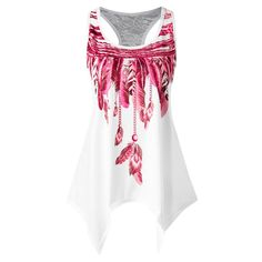 Feather Print Lace Insert Handkerchief Tank Top #discounts #trendyfashion #shopforless #sensualshoesandclothingboutique #beautifulclothes