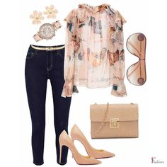 Simple Site, Boho Fashion, Fashion Outfits, Second Skin, Floral Blouse, Skinny Pants, Polyvore Fashion, Jeans, Casual
