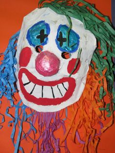 3rd grade paper mache clown mask; art teacher: Susan Joe