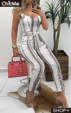 Thin Strap Striped Buttoned Detail Jumpsuit Thin Strap Striped Buttoned Detail Jumpsuit - Jumpsuits and Romper Trend Fashion, Fashion Mode, Fashion Pants, Fashion Dresses, Classy Outfits, Chic Outfits, Dress Outfits, Jumpsuit Pattern, Womens Fashion Online