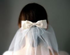 Classic Short Shoulder Length Tulle Veil with Vintage Kimono Silk Bow & Comb £32.00
