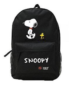 Creative Anime Snoopy Unisex Cavans Student's School Bag Backpacks Leisure Bag Shoulder Backpack (black)