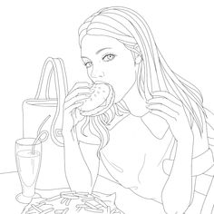 Dover Coloring Pages, People Coloring Pages, Free Adult Coloring Pages, Coloring Book Art, Cute Coloring Pages, Girl Drawing Sketches, Cute Drawings, Abstract Pencil Drawings, Outline Art