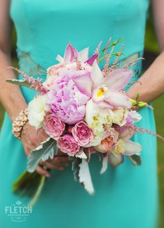 Bridesmaid Bouquet. Flowers By Heidi At Four Seasons Hualalai. Photo By Fletch Photography. www.fletchphotography.com