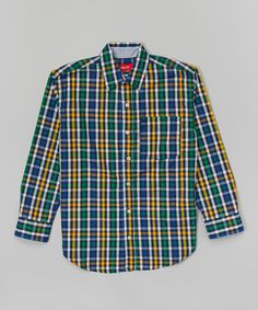 Love this Blue & Yellow Plaid Button-Up - Boys on #zulily! #zulilyfinds