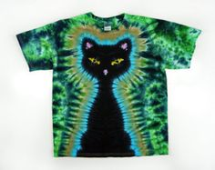 Teñir camiseta de lazo / niños negro gato Tie por SunflowerTieDyes