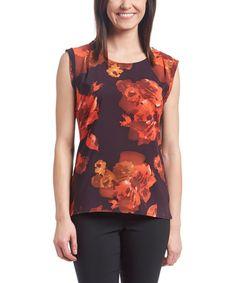 Look at this #zulilyfind! Plum & Rust Floral Sleeveless Top #zulilyfinds