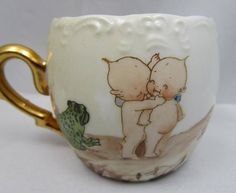 Vintage Teacup Painted with Kewpie Dolls and a Frog