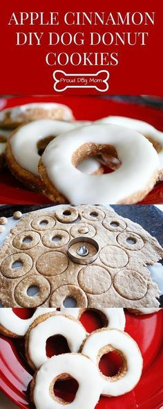 These apple-cinnamon dog donut cookies are shaped like donuts and have the consistency of a biscuit. They are simple to make, healthy, and dogs love them! >>> You can find more details by visiting the image link. Puppy Treats, Diy Dog Treats, Dog Treat Recipes, Healthy Dog Treats, Dog Food Recipes, Free Recipes, Dog Cookie Recipes, Dog Biscuit Recipes, Gourmet Dog Treats