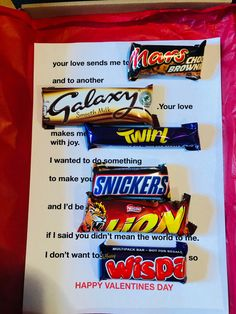 Personalised Valentines Chocolate Candy Bar Love Letter, Poetry Gift Card with Red Vinyl Text. Optional pop up Greetings Card Chocolate Bar Card, Valentine Chocolate, Candy Letters, Love Letters, Food Gift Cards, Food Gifts, Birthday Candy Posters, Candy Bar Cards, Chocolate Tumblr