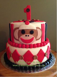 Sock Monkey Cake for 1st Birthday By A-Mazing Cakes