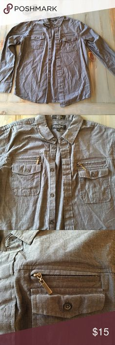 Men's Long Sleeve Shirt Grey shirt with pockets and zipper aesthetics. Worn a couple of times and in great condition. Eighty Eight Shirts Casual Button Down Shirts