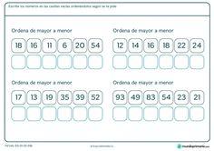 Ficha de ordenar de mayor a menor para Primaria