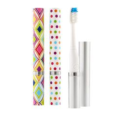 Attention NICOLE; POLKA DOTS - I just bought one for my travel kit at the Container Store and I just love it!!! The  convenience of our Slim Sonic Toothbrush will make you smile. Since it's battery powered, you can enjoy the benefits of a sonic toothbrush without the bulk of a heavy charger or cord. The cover keeps the brush protected and an internal mechanism prevents switching it on accidentally, so you can confidently pack it in a suitcase, carry-on, gym bag or handbag.
