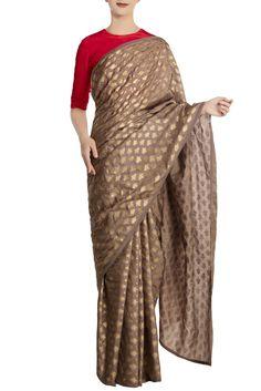 Grey kailash khadi sari with red blouse piece