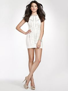 Guess true white lace halter dress
