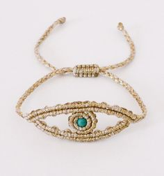 Eye Macrame Necklace, Macrame Jewelry, Fabric Jewelry, Macrame Bracelets, Handmade Bracelets, Wire Jewelry, Jewelry Crafts, Jewelery, Evil Eye Jewelry