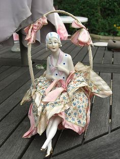 BEAUTIFUL 1920/30 PIN CUSHION HALF DOLL ON SWING LOVELY DRESSED GERMAN | eBay