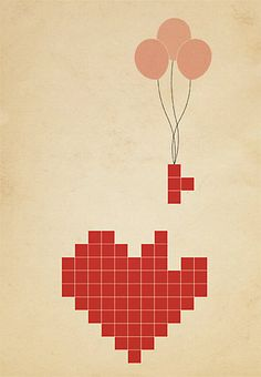 Tetris Pixel Heart  Created by Gift Season Store
