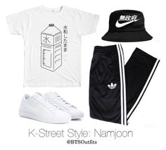 """""""K-Street Style: Namjoon"""" by btsoutfits ❤ liked on Polyvore featuring adidas and NIKE"""