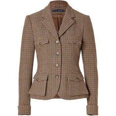 RALPH LAUREN BLUE LABEL Wool Tweed Short Jess Jacket (€300) ❤ liked on Polyvore featuring outerwear, jackets, blazers, tops, coats, brown wool jacket, wool jacket, woolen jacket, long sleeve peplum jacket and wool tweed jacket